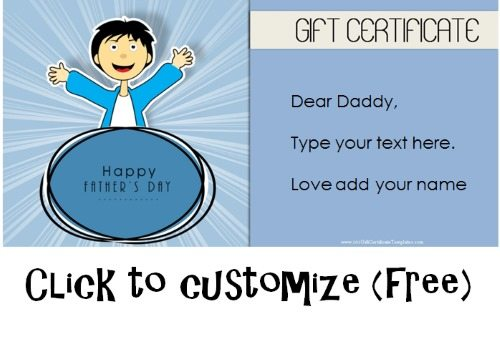 Free Printable Father\u0027s Day Gift Cards - Customize Online - personalized gift certificates template free