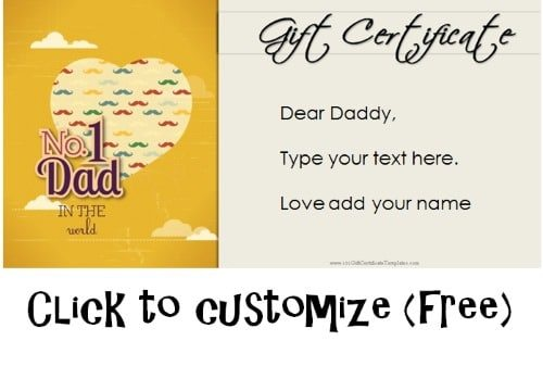 Free Printable Father\u0027s Day Gift Cards - Customize Online - gift voucher format