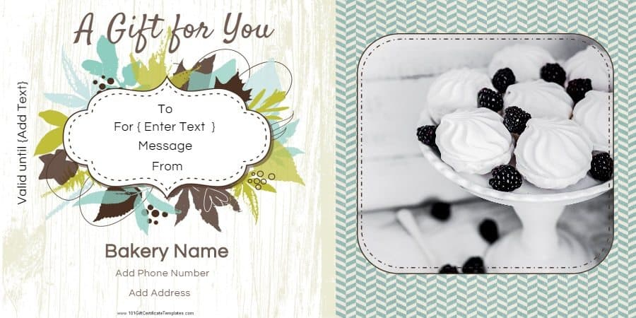 Gift Certificate Templates for a Bakery - gift certificate templete