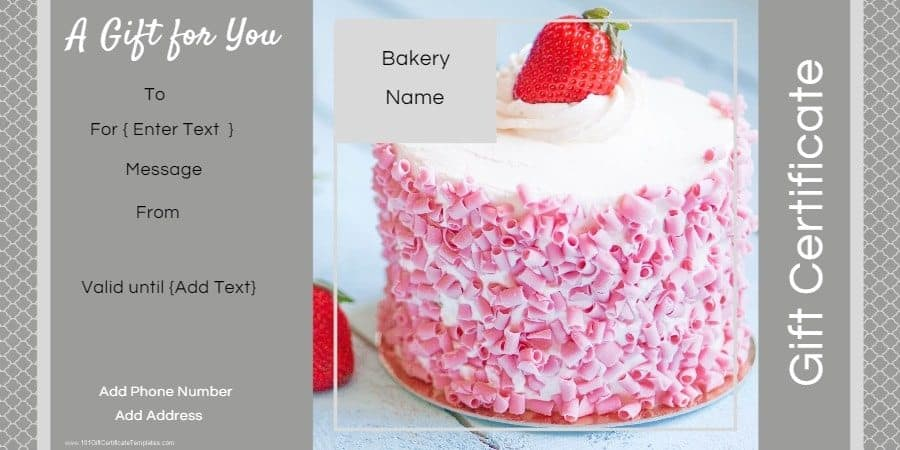 Gift Certificate Templates for a Bakery - personalized gift certificates template free