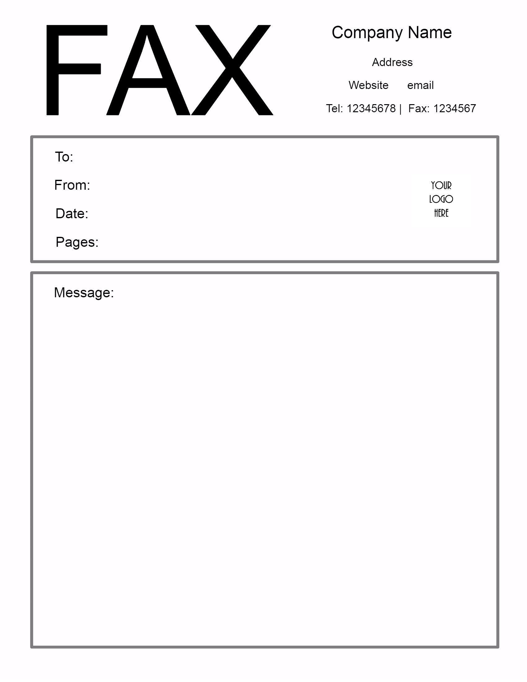 sample fax cover