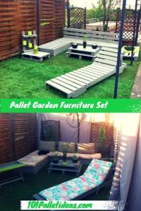DIY Pallet Garden and Patio Furniture Set