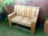 Pallet Wood and Cable Spool Garden Bench