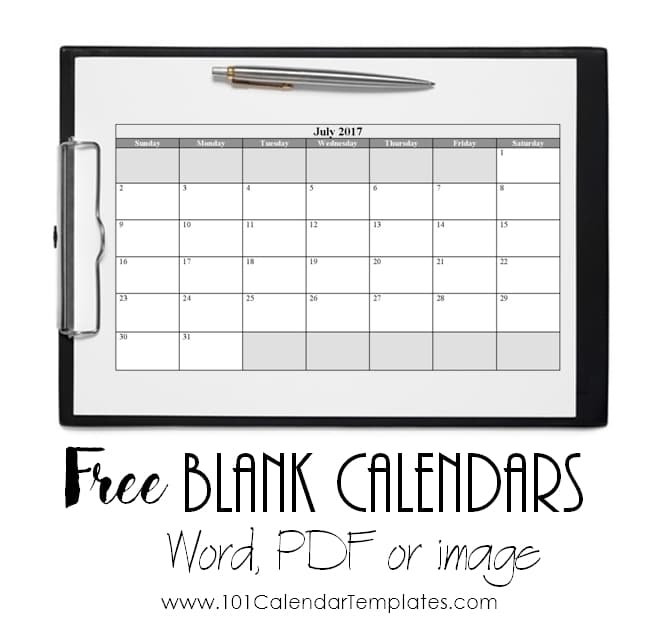 Free Blank Calendar Templates Word, Excel, PDF for any month