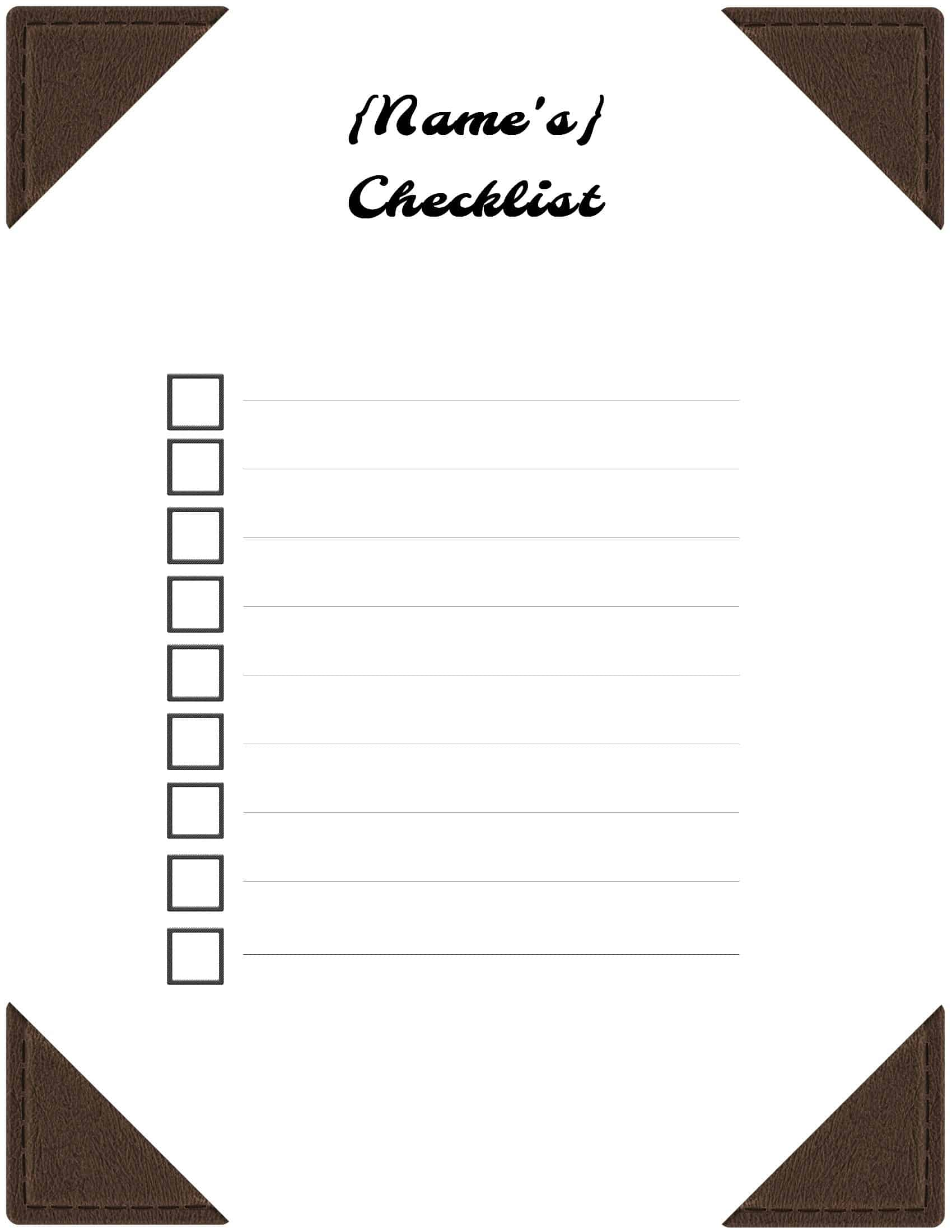 checklist in word