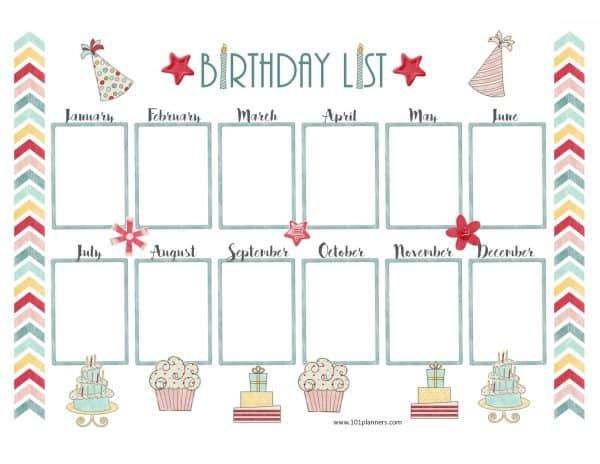 Free Birthday Calendar Customize Online  Print at Home
