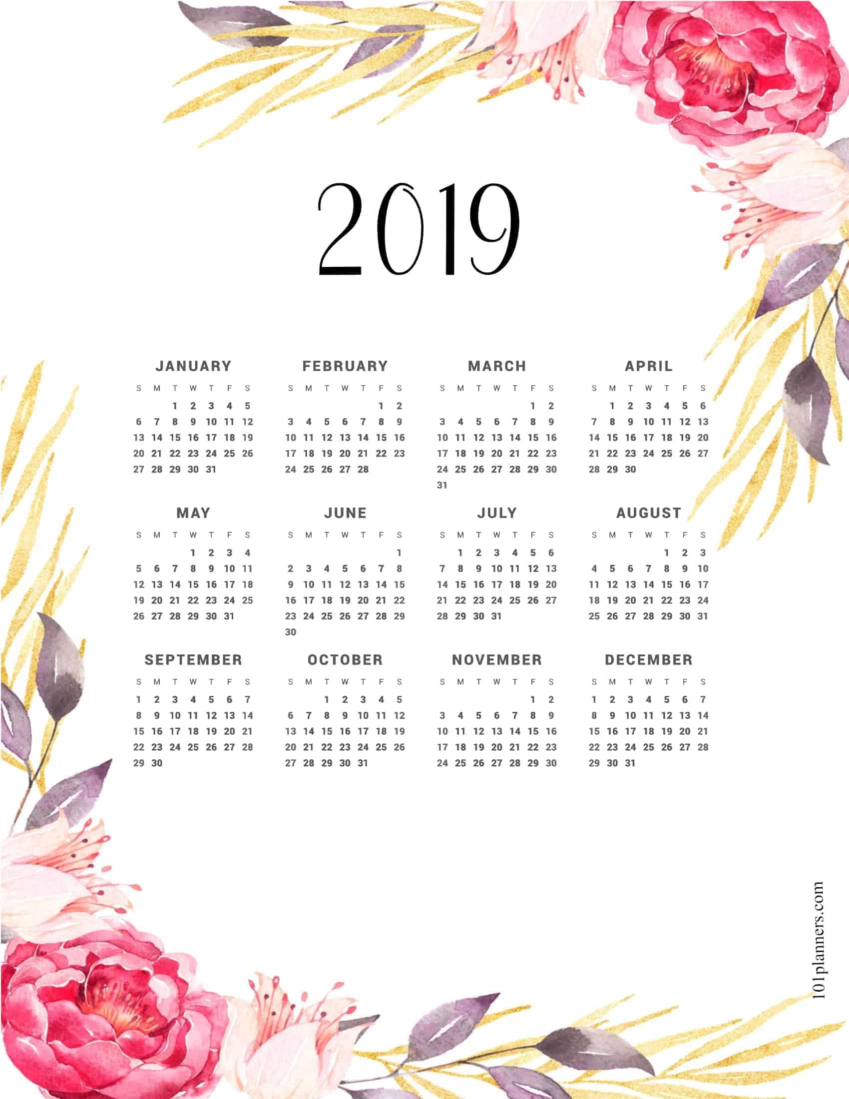 free printable calendar 2019 year