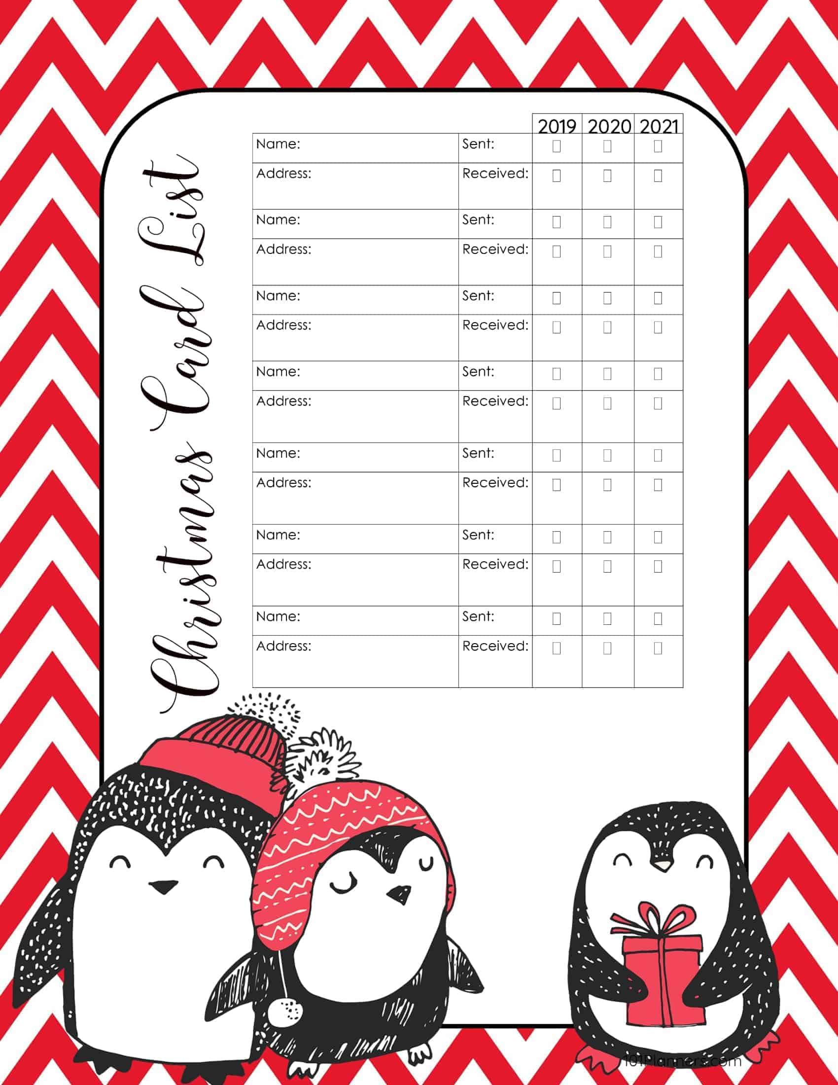 christmas card list templates