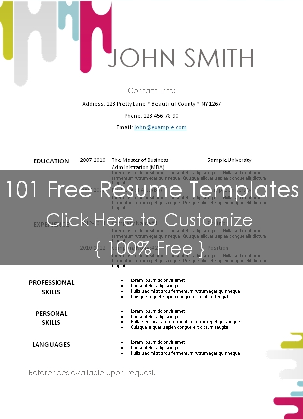 Free Modern Resume Template - picture resume template