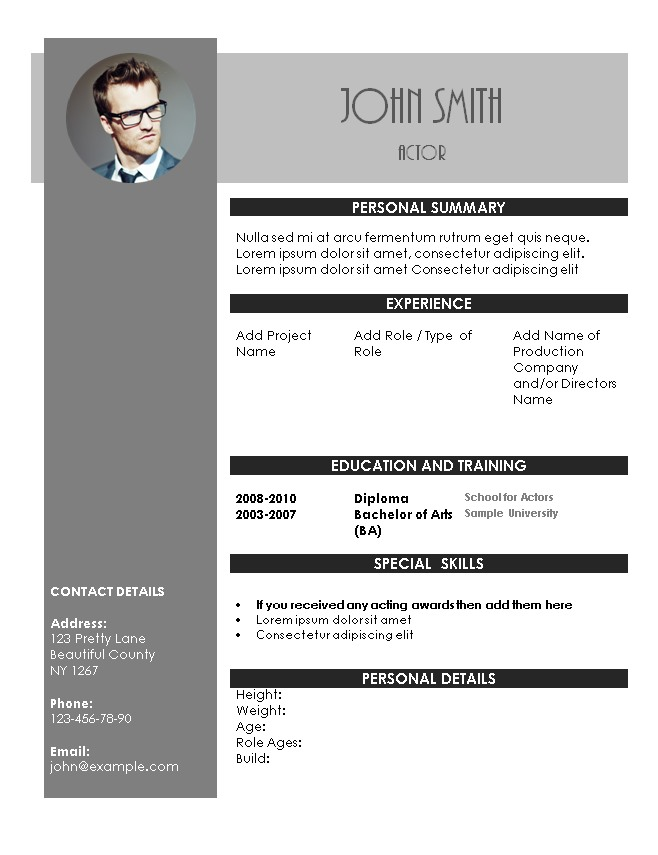 Acting Resume Template - Sample Actors Resume