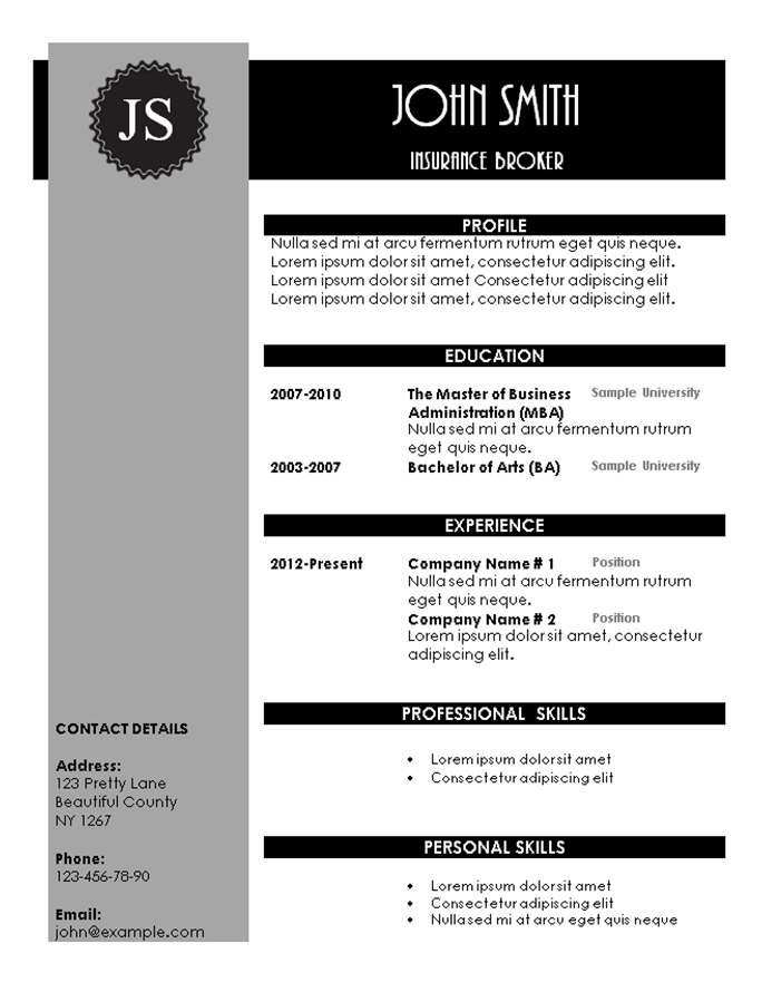 grey and pink resume template