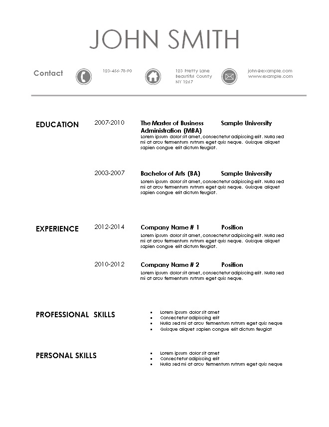 Simple Resume Template - resume templates 101