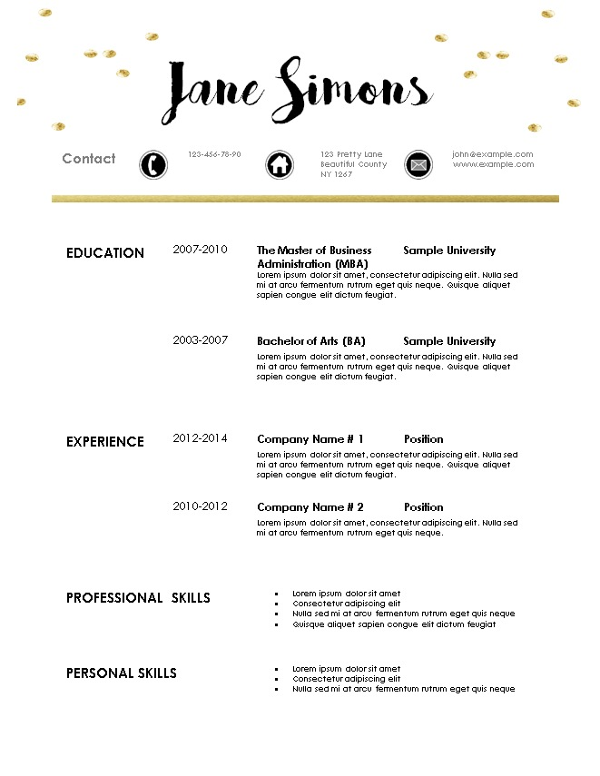 Free Modern Resume Template - resume template for teenager