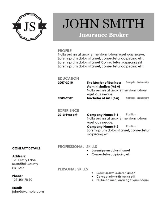 free monogram resume template