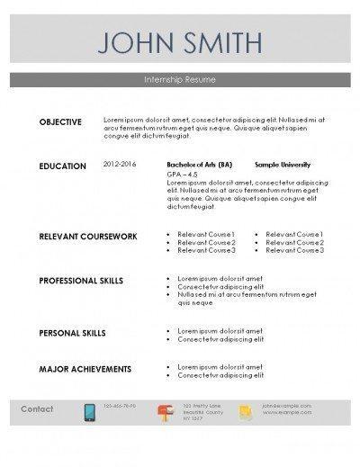 Internship Resume Template - internships resume examples