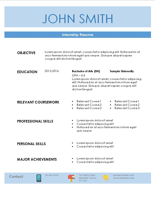 Internship Resume Template - resume for internship