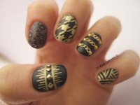 Black and Gold Matte nails | 10 Blank Canvases