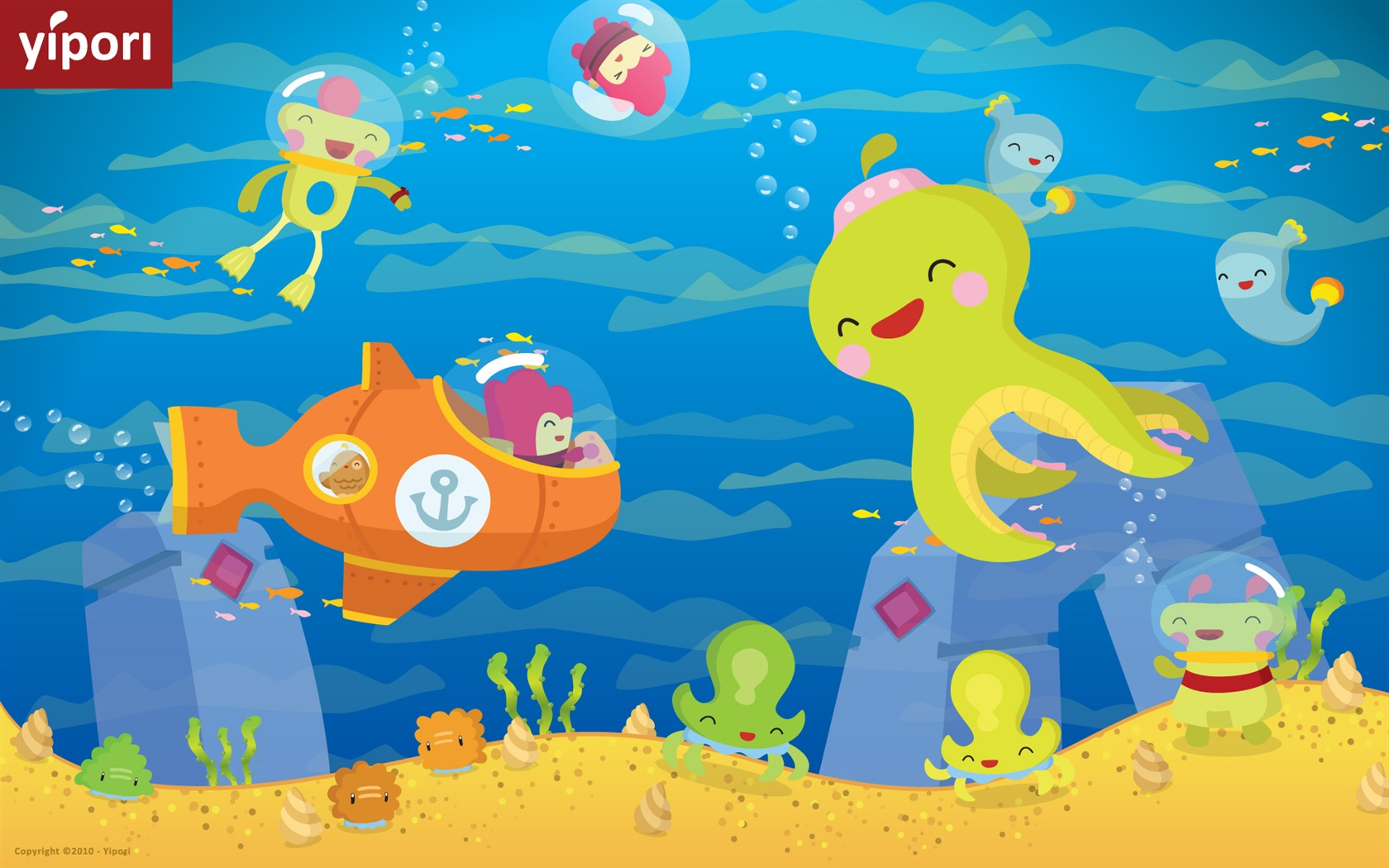 Cute Kid Wallpapers Free Download Underwater Cute Illustration Wallpaper 1680x1050 Download