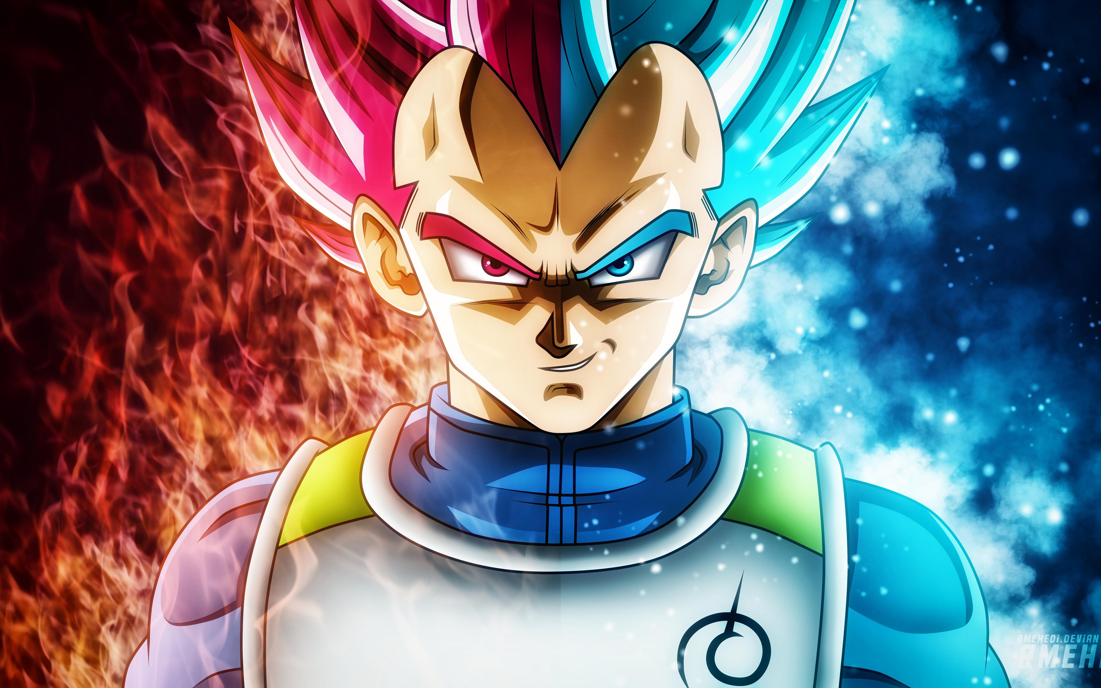 Girl Looking At Moon Wallpaper Red Blue Flame Vegeta Dragon Ball Super Ultra Hd Preview