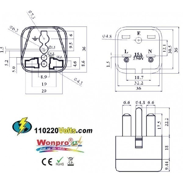 WonPro WA-18 Universal to North American NEMA 6-15 Grounded Power