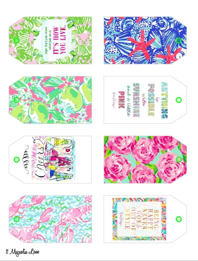Free Printable Lilly Pulitzer Inspired Gift Tags 11 Magnolia Lane