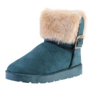 Green Snow Ankle Boots Faux Fur Lined Warm Shoes