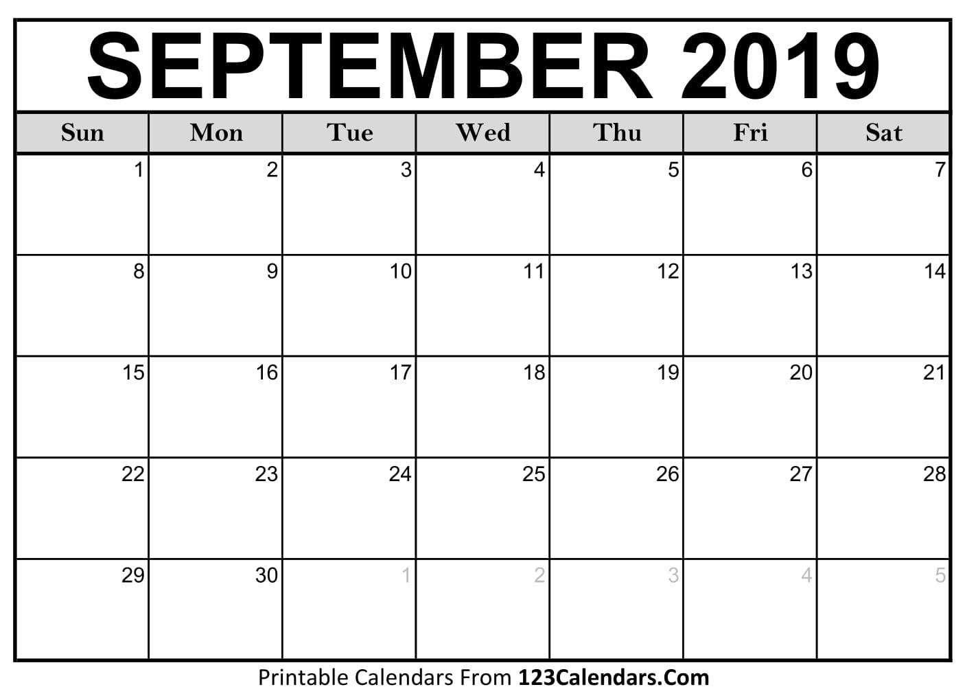 printable calendar sept 2019