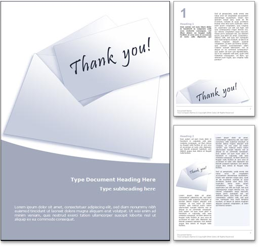 Thank You Word Template in Blue
