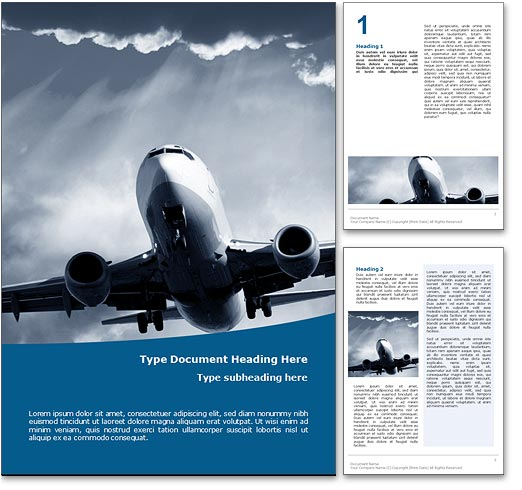 Air Travel Word Template in Blue