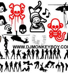 086_mixed_helicopter-monkey-skull-women-silhouettes-and-faces-free-vector