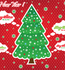 119-greeting-card-christmas-tree-red-background-free-vector
