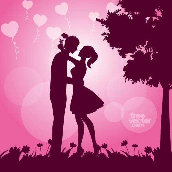 Girl Proposing A Boy Wallpapers Couple In Love Silhouette Vector Image 123freevectors