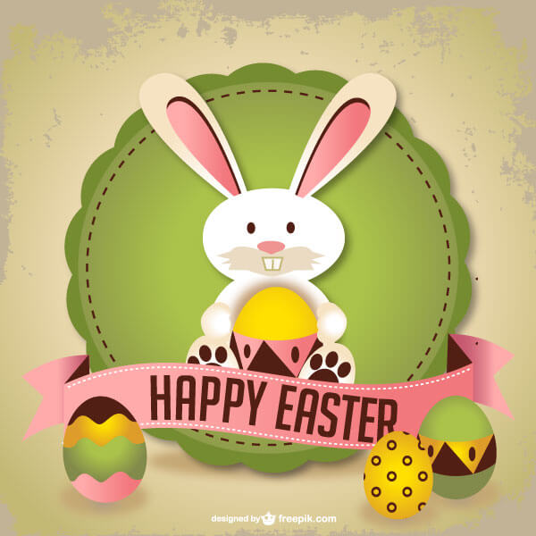 Easter Rabbit Greeting Card Template 123Freevectors - easter greeting card template