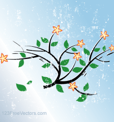 246-grunge-blue-vector-background-with-flowers