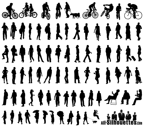 Free Vector Silhouettes of People Standing, Sitting