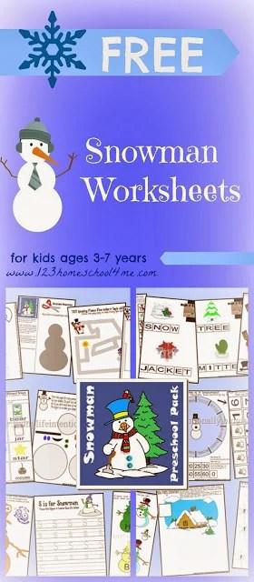 Snowman Worksheets 123 Homeschool 4 Me