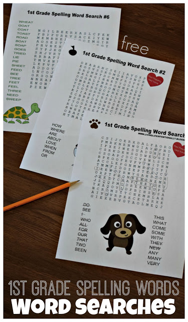 FREE 1st Grade Spelling Word SEARCHES 123 Homeschool 4 Me