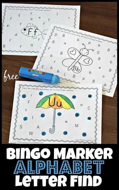 FREE Bingo Marker Alphabet Letter Find 123 Homeschool 4 Me