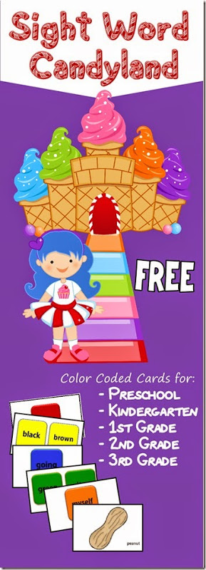 FREE Candyland Sight Word Game (PreK-3rd grade) 123 Homeschool 4 Me