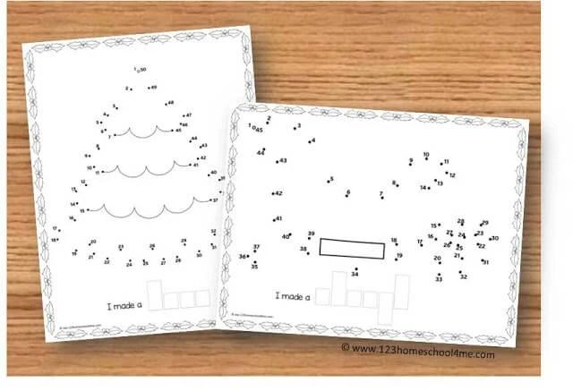Christmas Dot to Dot Printables 123 Homeschool 4 Me