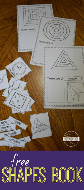 FREE Cut and Paste Shapes Book 123 Homeschool 4 Me