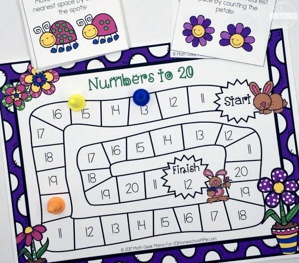 FREE Spring Numbers to 20 Board Game 123 Homeschool 4 Me