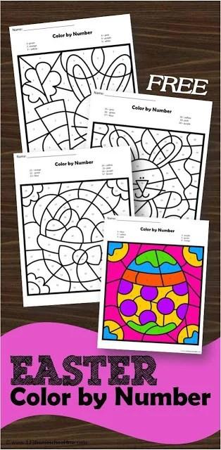 FREE Easter Color by Number Worksheets 123 Homeschool 4 Me