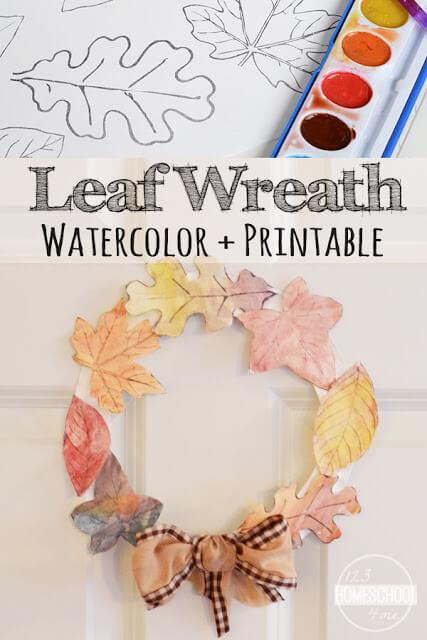 Leaf Wreath Craft for Kids (with FREE leaf printable leaves) 123
