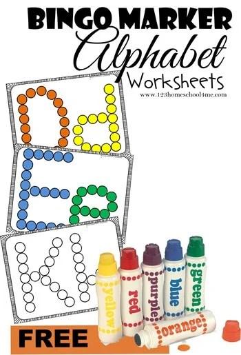 NEW! Bingo Marker Alphabet Worksheets 123 Homeschool 4 Me
