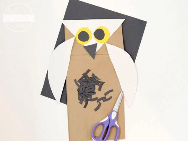 Owl Paper Bag Puppet Craft 123 Homeschool 4 Me
