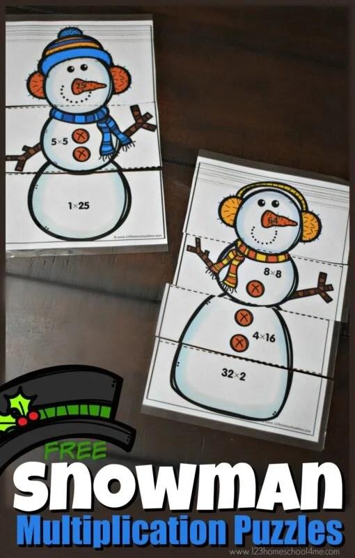 FREE Snowman Multiplication Puzzles 123 Homeschool 4 Me