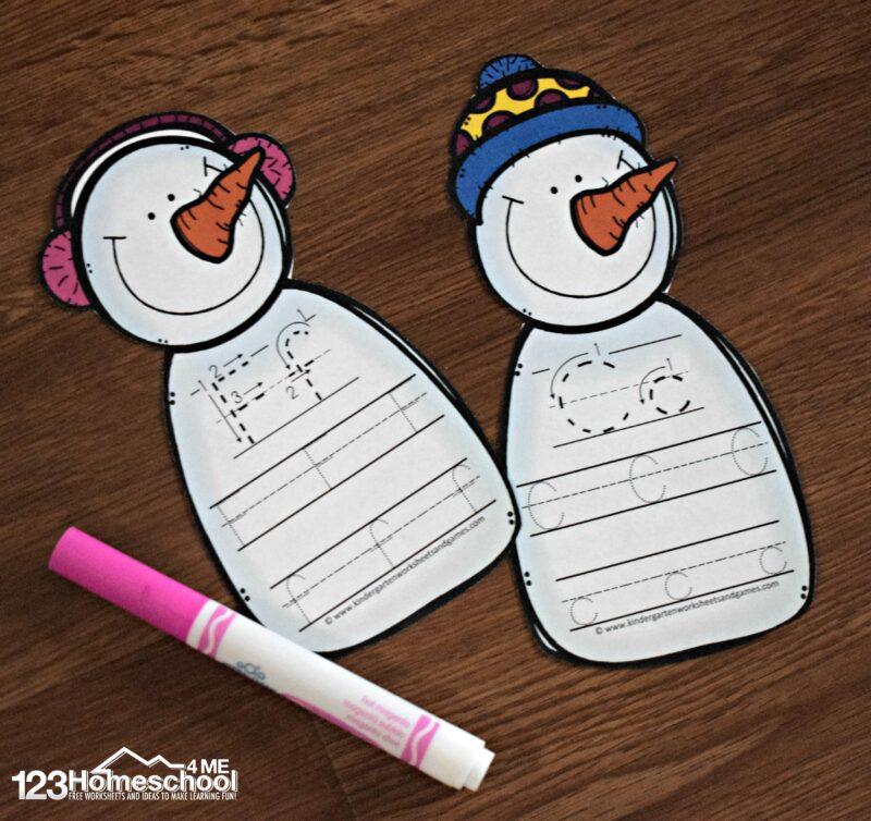 FREE Snowman Letter Practice Trace  Erase 123 Homeschool 4 Me
