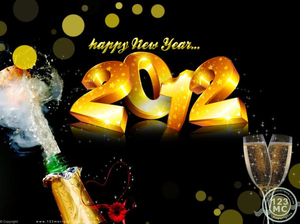 Happy New Year 2012 Wallpaper with champagne. 1024 x 768.Happy New Year E-cards Free