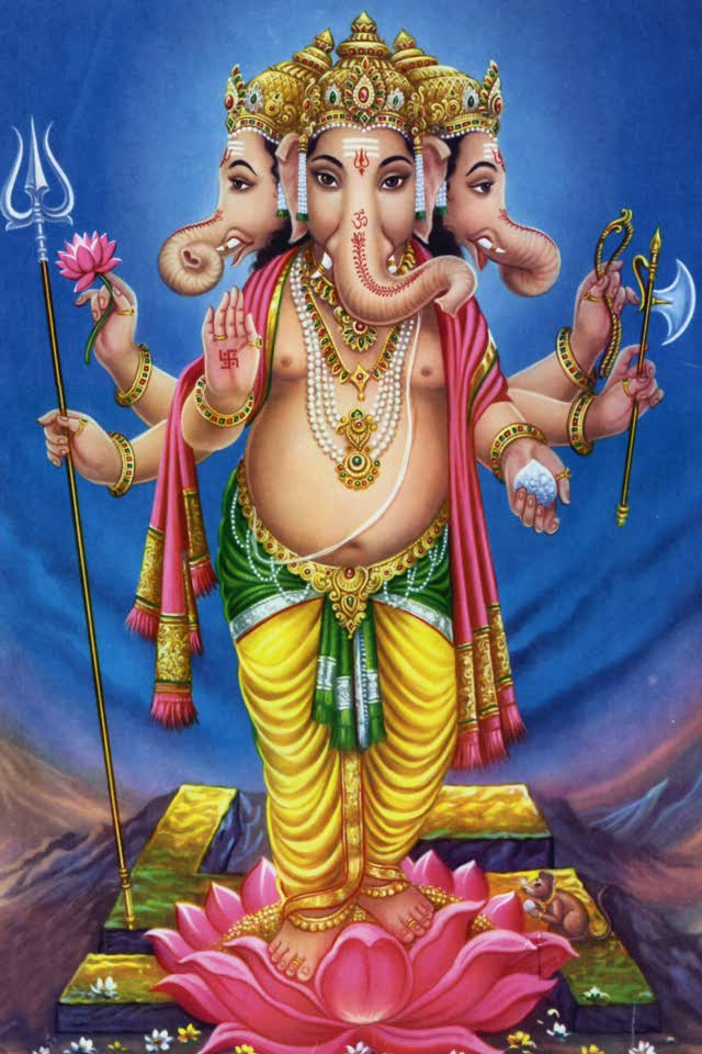 3d Vinayaka Wallpapers Lord Ganesha Standing On Lotus